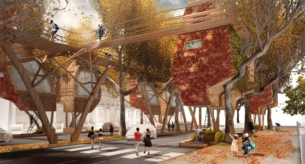 Vivienda sostenible en Londres. Street Tree Pods de Matthew Chamberlain