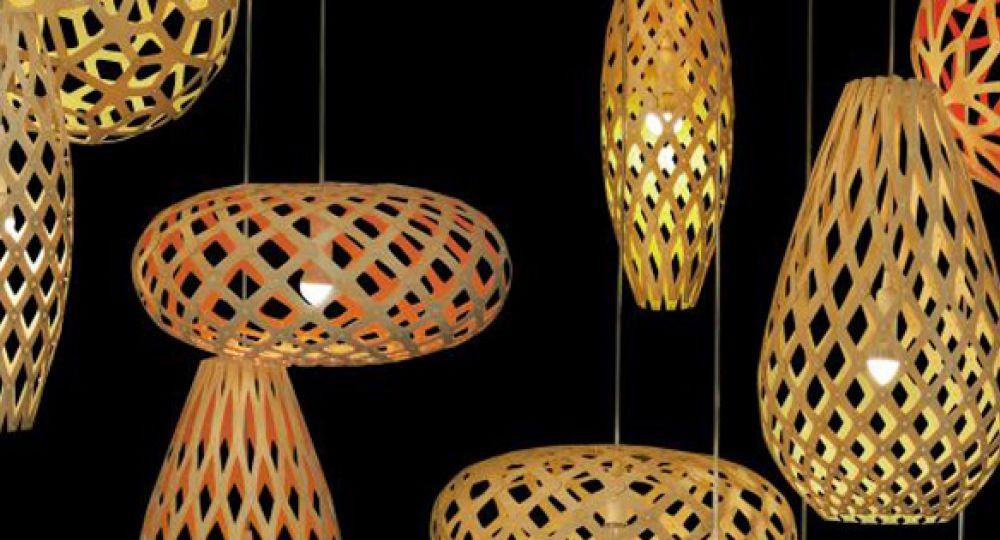 Luz sugerente, lámparas de bambú