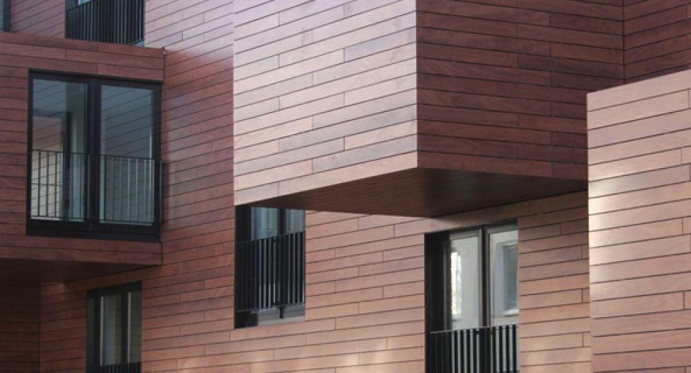 Revestimiento de madera para exteriores prodema arquitectura for Revestimiento interior madera