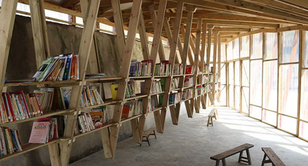 Madera y libros biblioteca the pinch shuanghe for Biblioteca arquitectura