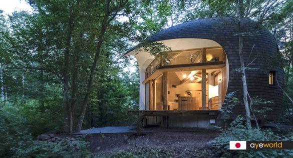 Cabaña Shell House: arquitectura ecológica de Tono Mirai Architects