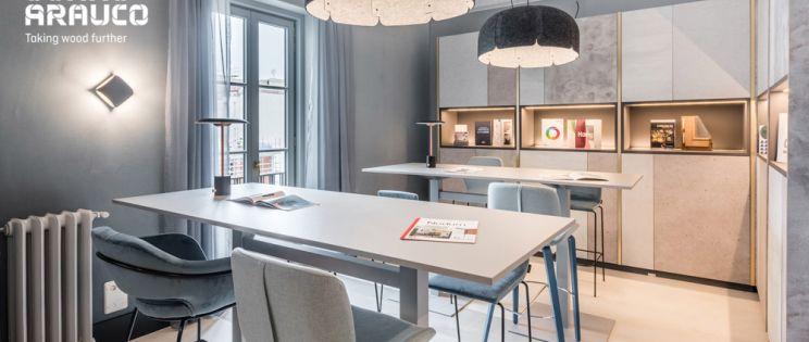 Sonae Arauco colabora en el nuevo showroom Docontract MAD: arquitectura contract con el mejor diseño