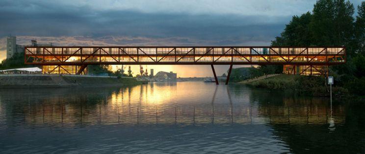 Puente, hotel y oficinas sobre el Danubio. Proyecto Elbow Shadow de ARCVS arquitectos