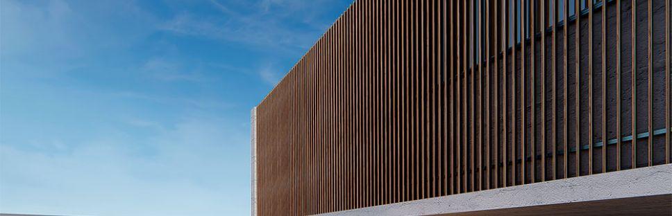 Gradpanel Thermopine: control solar con lamas de madera de pino termotratado
