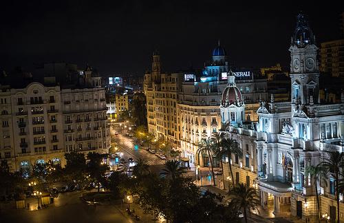 Valencia Plaza Ayuntamiento Noche